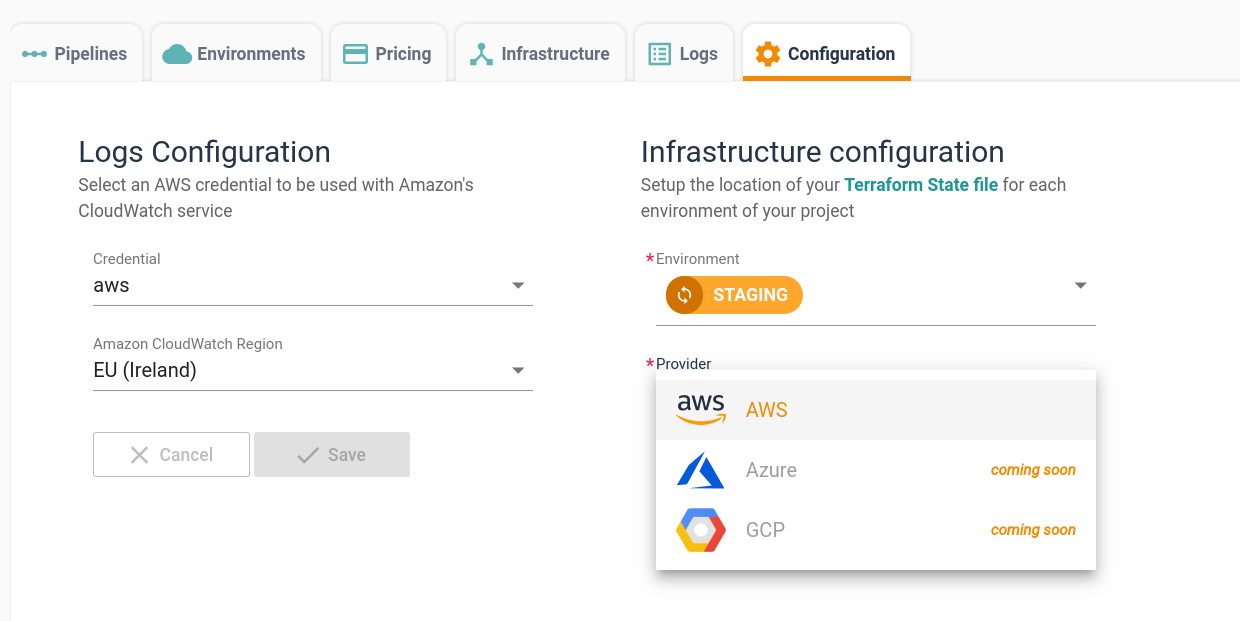 The InfraView configuration options